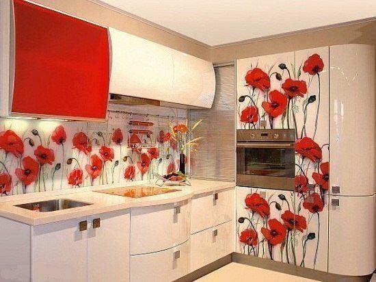 Кухня фотопечать красная